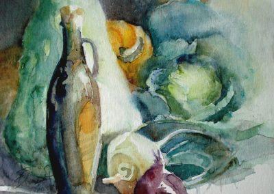 1105 Gemüse Mit Ölflasche Aquarell
