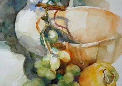1107 Trauben mit Weinkrug Aquarell