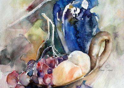 1106 Obstschale mit Wase und Früchten Aquarell