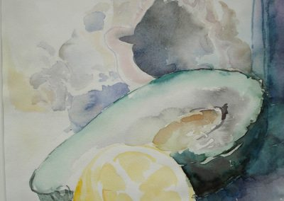 0131 Avokado und Zitrone Aquarell