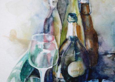 1101 Flaschen Stillleben Aquarell
