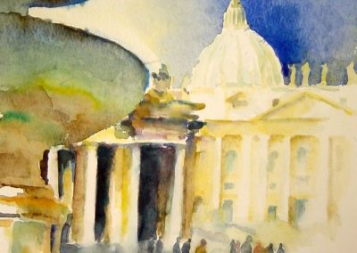 0882 Piazza san. Pietro Roma Aquarell