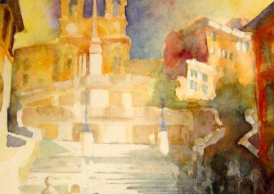 0869 Piazza di Spagna Roma Aquarell