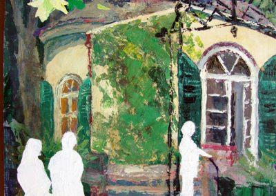 1207 Nebbien. Gartenhaus Brunnen. Acryl