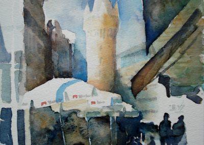 0927 Eschenheimer Turm Fft. Aquarell