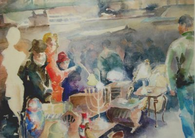 0840 Flohmarkt am Mainufer Fft. Aquarell