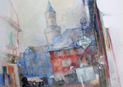 1305 Marktplatz Idstein Aquarell