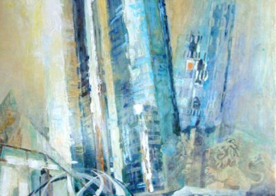 1255  Zwillingstürme (Grien- Tower) Deutsche Bank Acryl